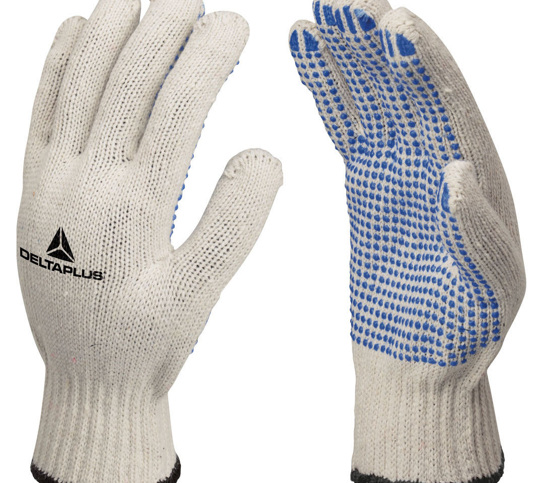 Delta Plus TP169 White Cotton Safety Work Gloves With PVC Dots Gripper
