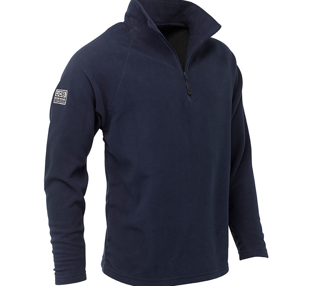 JCB 1/4 Zip Mens Navy Blue Micro Fleece Jacket Warm Thermal Pullover Winter Cold